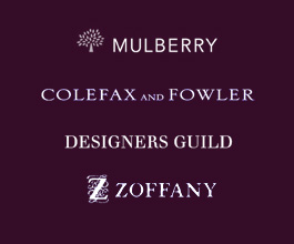 Mulberry - Colefax and Fowler - Designers Guild - Zoffany - Pierre Fray - JAB Anstoetz - De Le Cuona - Jane Churchill - Andrew Martin - Nobilis - Brunschwig and Fils - Osborn and Little
